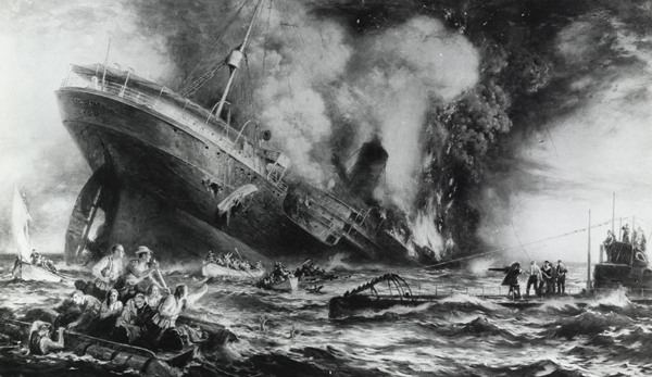 An artist's rendering of the sinking of the Lusitania.