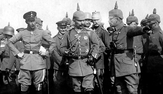 Kaiser Wilhelm, center, on the battlefield, consulting with other German generals.