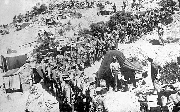 Allied battalion awaiting order to attack, Gallipoli,  date uncertain, 1915.