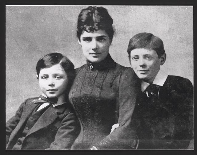 Churchill brothers Jack, left, and Winston, with mother Jennie, date uncertain.
