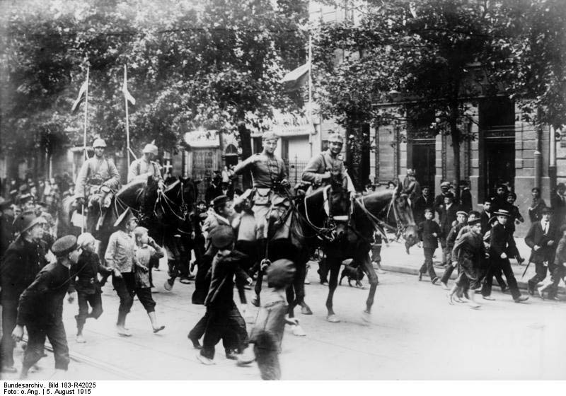 German cavalrymen enter Warsaw, circa summer 1915.