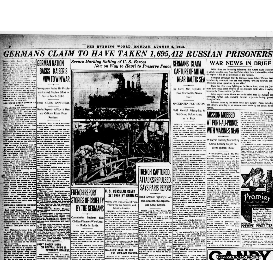 New York Evening World, front page, August 2, 1915, one year into World War One.