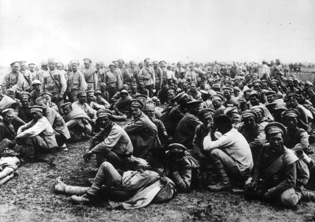 Russian prisoners-of-war captured by German forces as Germany seizes control of eastern Europe in summer 1915.