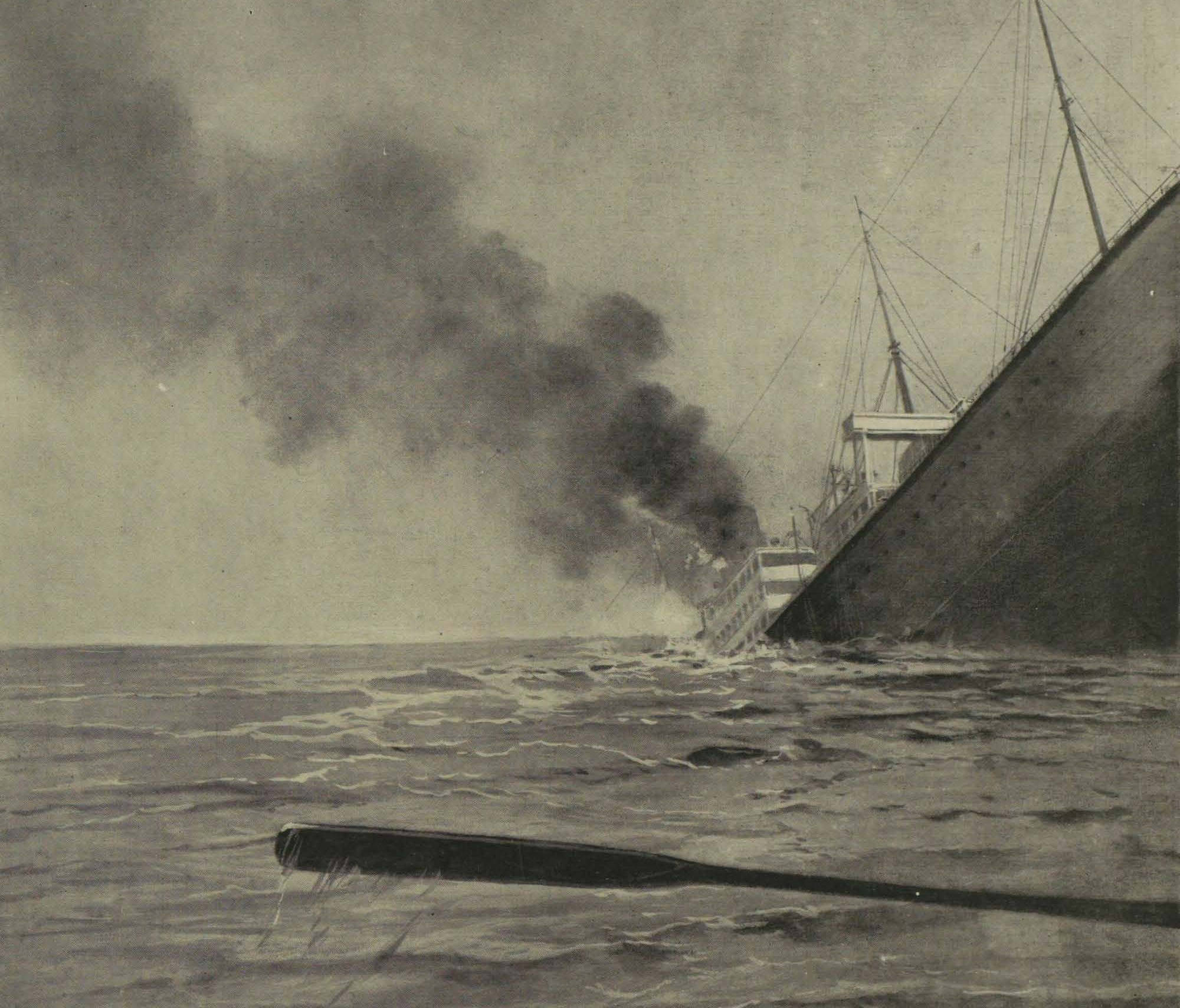 A German submarine sinks the Arabic ocean liner, August 19, 1915.