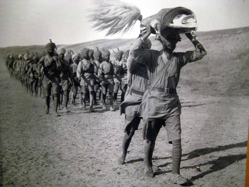 The British India army on the march in Mesopotamia (Iraq).
