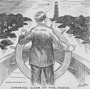 President Wilson steering the ship of state.