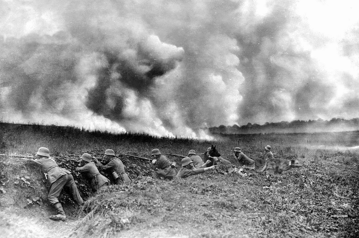 German troops hold their position in British gas attack at Loos.