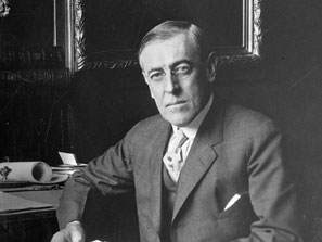 The American President Woodrow Wilson at his desk in the White House.