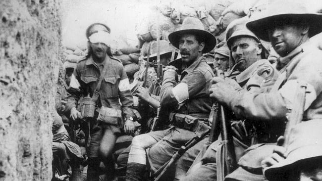 Australian troops at Gallipoli, 1915.