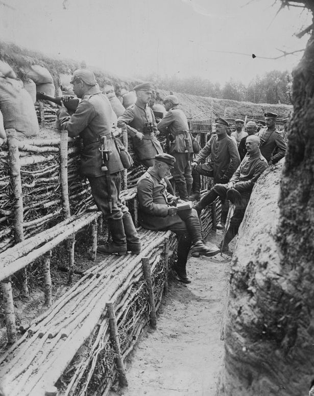 German soldiers in their deep trenches, date and place uncertain.