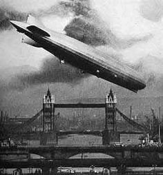 Artist rendering of Zeppelin attack on London.