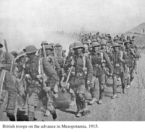 British troops on the march in Iraq, 1915.