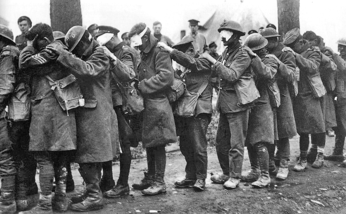 Gassed British soldiers, date and place uncertain.