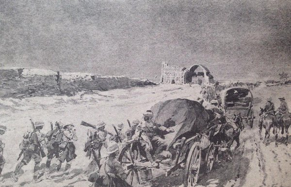 Artist rendering of British column approaching the ancient ruins of Ctesiphon.