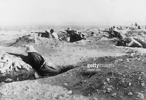 Italian soldiers in advanced positions, Libya, circa late 1915.