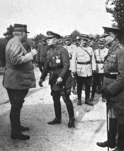 Allied military leaders meeting at the Chantilly headquarter of Gen. Joseph Joffre, left, supreme French commander, December 1915.