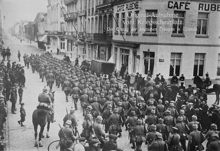 German army marches into Ostend, Belgium, date uncertain.