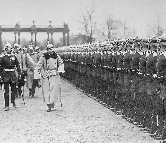 The German Kaiser reviews his troops, date uncertain.