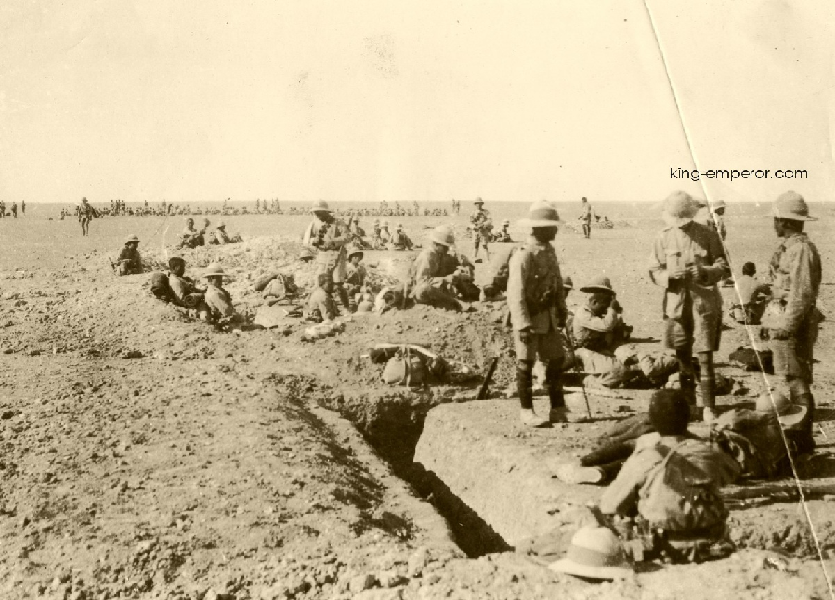 British and Indian troops at rest in trenches, Kut, Mesopotamia, early 1916.