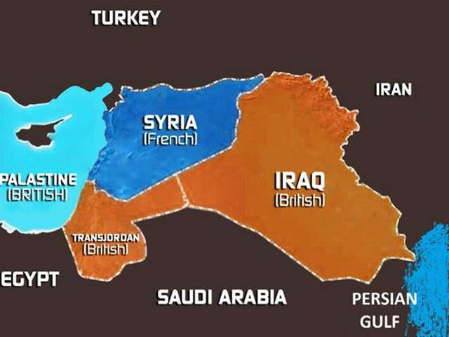 A map of the Middle East as envisioned by the Sykes-Picot agreement.