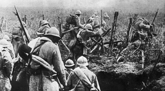 Defending French troops at Verdun.