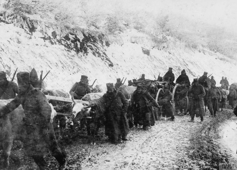 Serb army in retreat to Albania, circa late 1915.