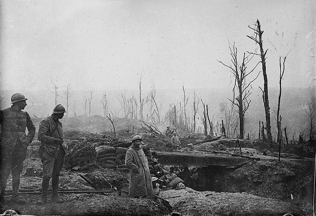 French soldiers on the devastated battlefield at Verdun, 1916.