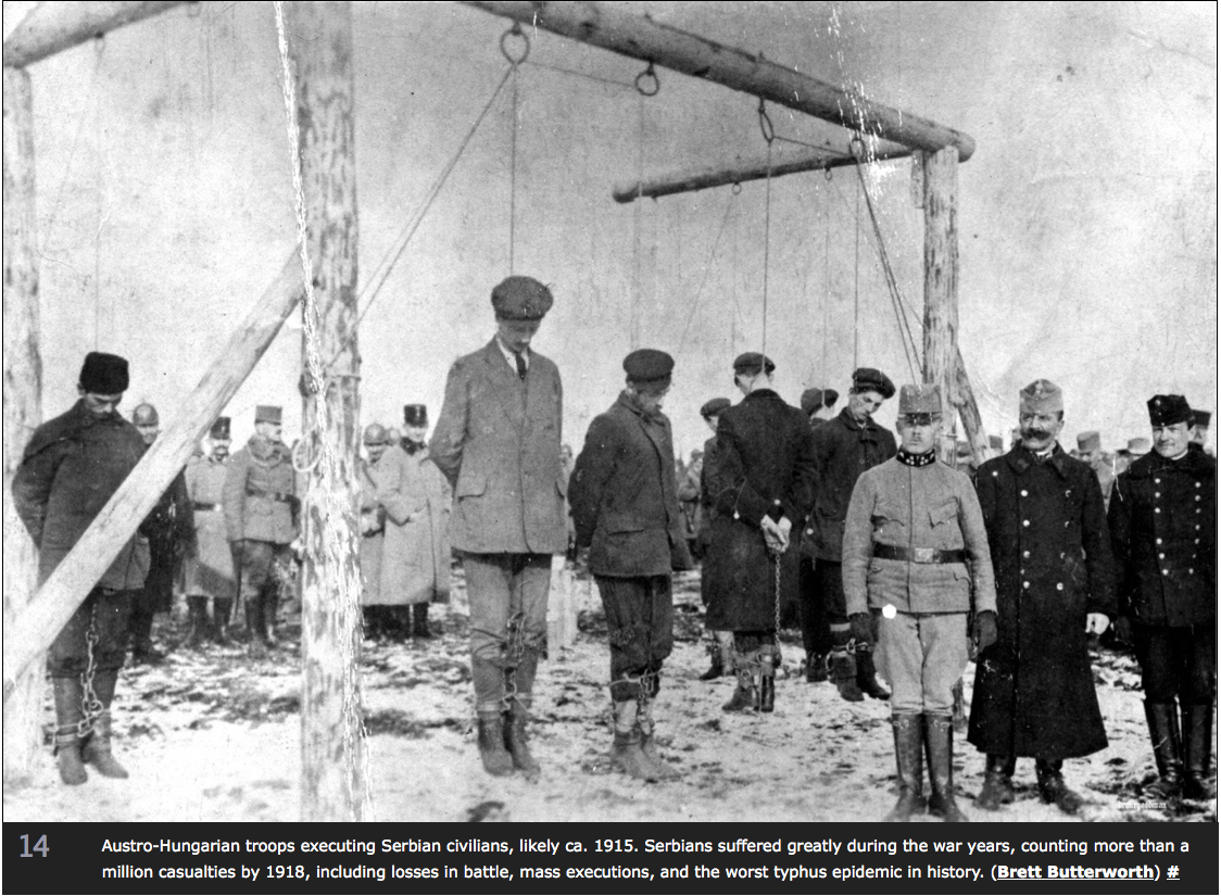 Serbs executed by Austrians, late 1915.