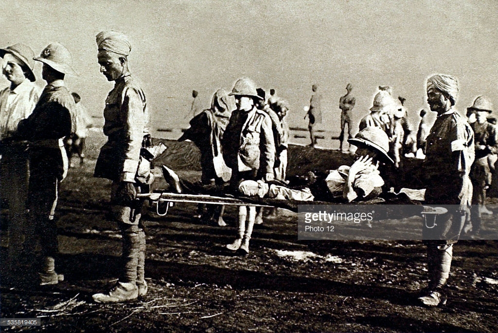 British and Indian wounded at Siege of Kut, 1916.