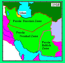 Map of Persia in World War One.