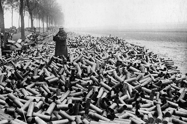 Empty shells during battle Verdun, 1916.