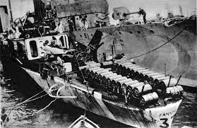 Depth charges on the stern of allied ship, date and place uncertain.