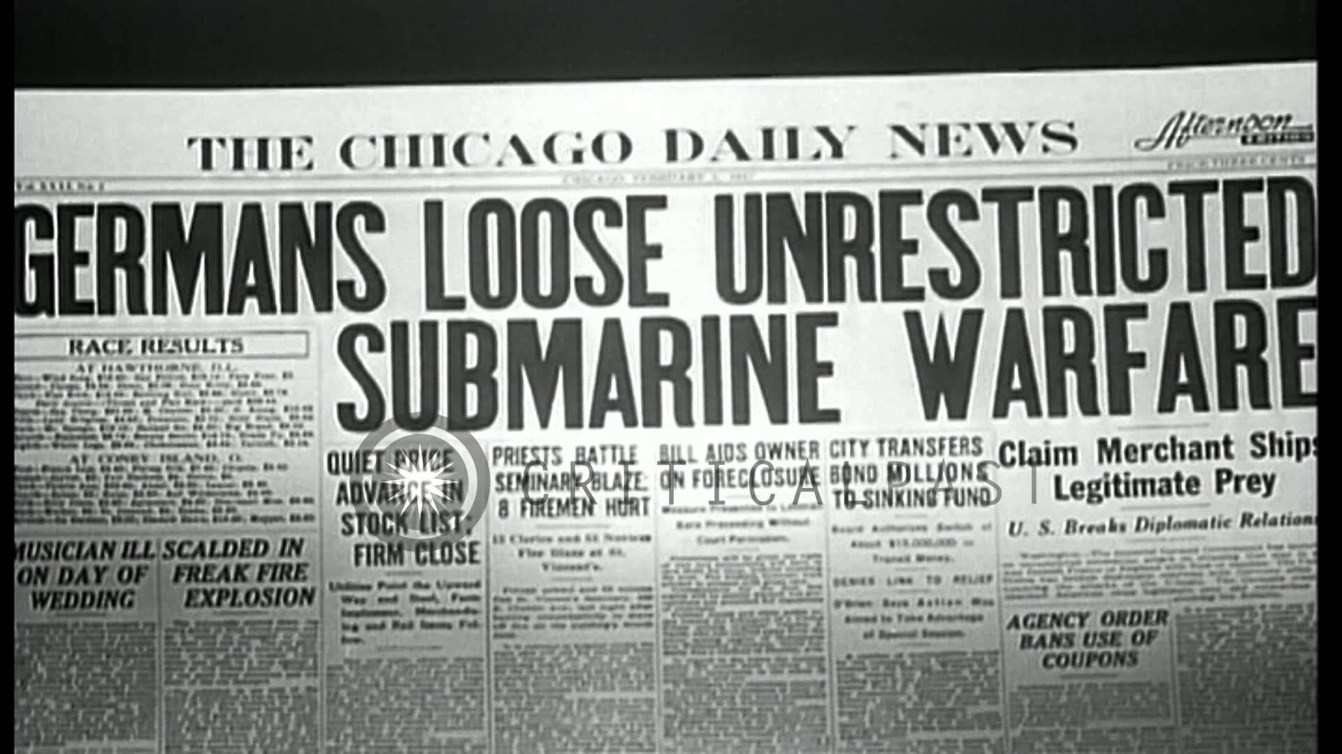 Germany returns to unrestricted submarine warfare, makes news in the US.