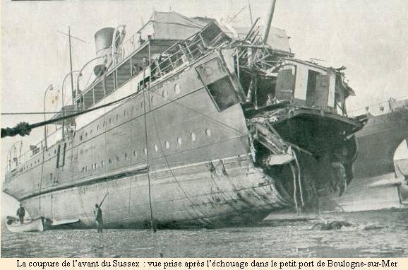 The Sussex torpedoed, April 1916.