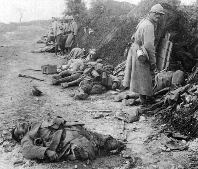 French soldiers, victims of German bombardment, spring 1916.