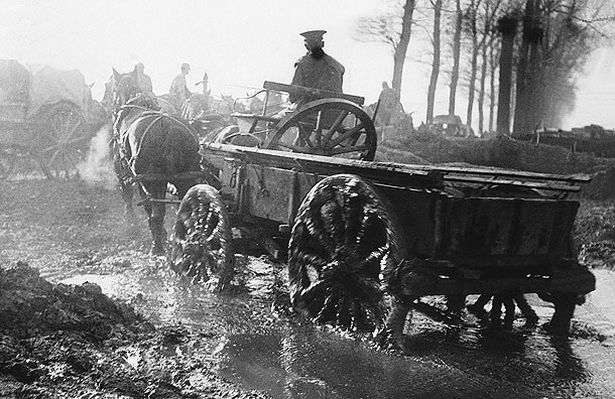 Horses pull supply carts in all weather conditions, date uncertain.
