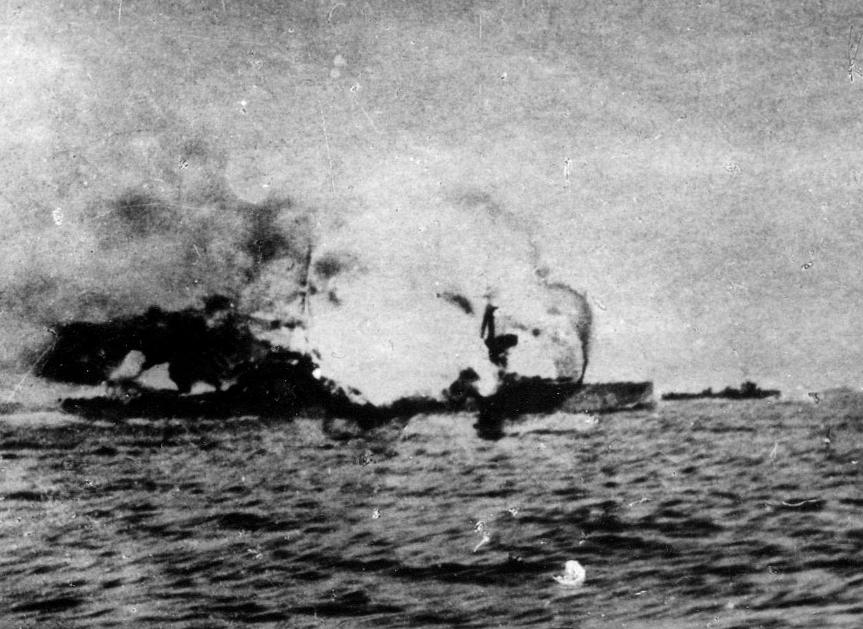 The British ship Invincible takes a direct hit.