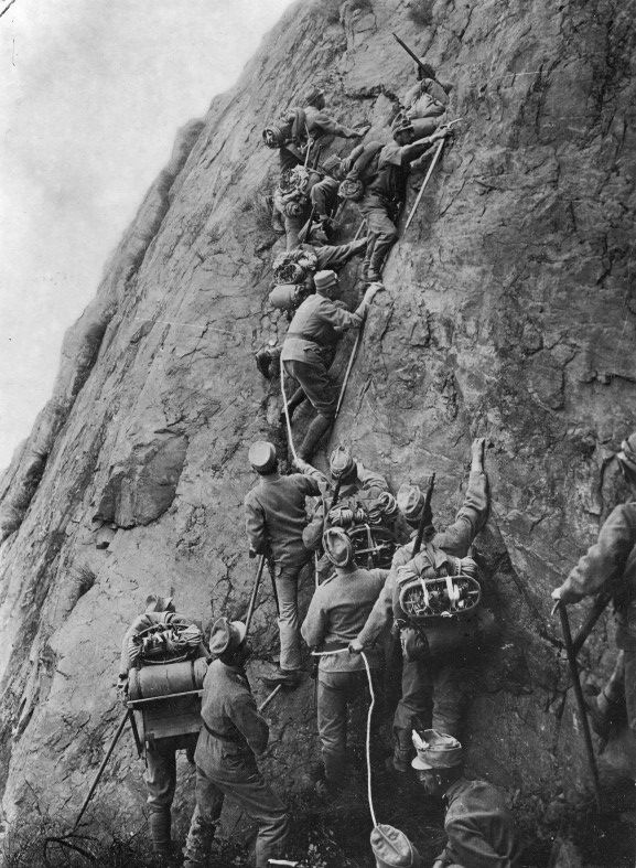 Italians scale Alpine peaks to defend their lines, date uncertain.