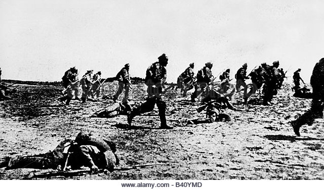 Russian troops attack in Brusilov offensive on Eastern Front,, June 1916.