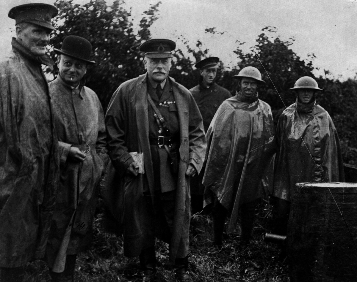 Field Marshal Douglas visiting the troops during World War 1, date and place uncertain.