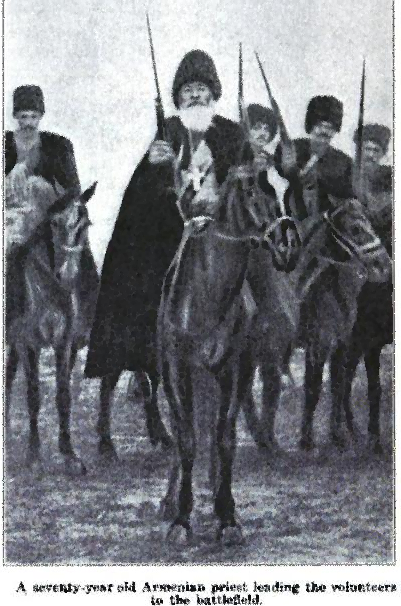 Armenian priest leads Armenian resisters into battle, date and place uncertain.