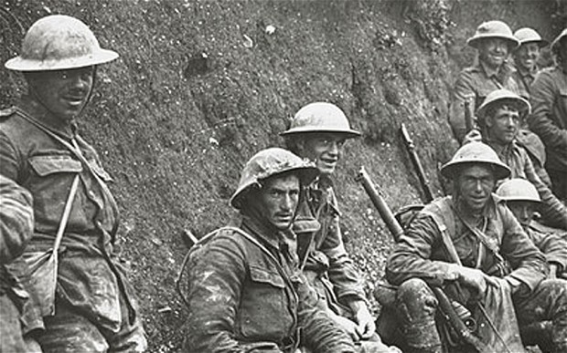 British soldiers at the Somme, waiting for orders, July 1916.