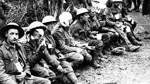 Wounded British soldiers at the Somme, summer 1916.