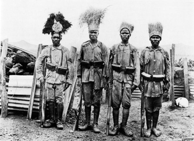 African troops in German East Africa, date uncertain.
