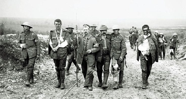 German prisoners of war marched by British troops, the Somme circa August 1916