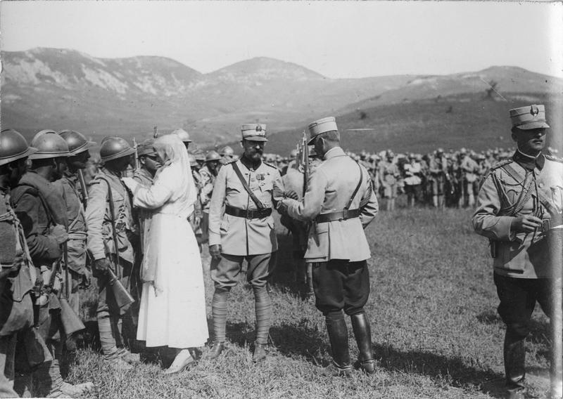 Romanian queen inspects the troops, date and place uncertain.