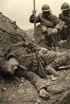 A dead German soldier in a French trench, circa August 1916.