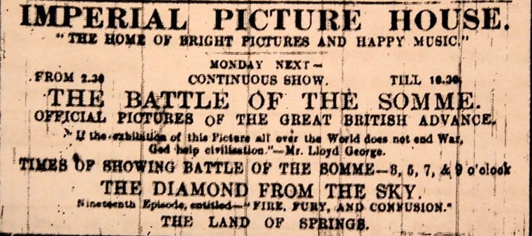 Cinema ticket for Battle of the Somme