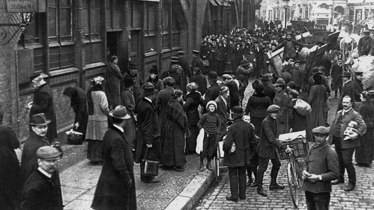 Germans line up for food rations in wartime Germany, date and place uncertain.