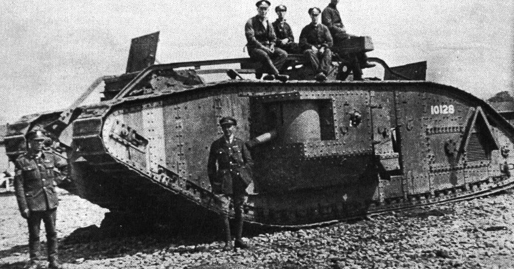 British troops pose with new tank in the Battle of the Somme.